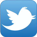 Twitter logo, blue square with bird