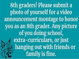 8th Graders submit photos of yourself