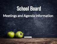 chalkboard with school board meeting information