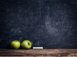 picture of chalkboard and apple