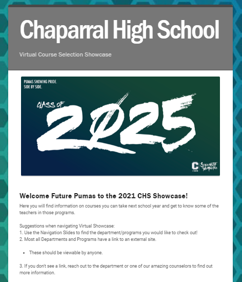 LINK to CHS  virtual showcase