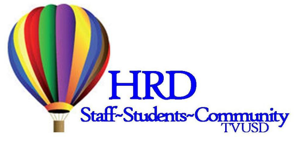 Picture of hot air balloon with text that says HRD Staff Students Community TVUSD
