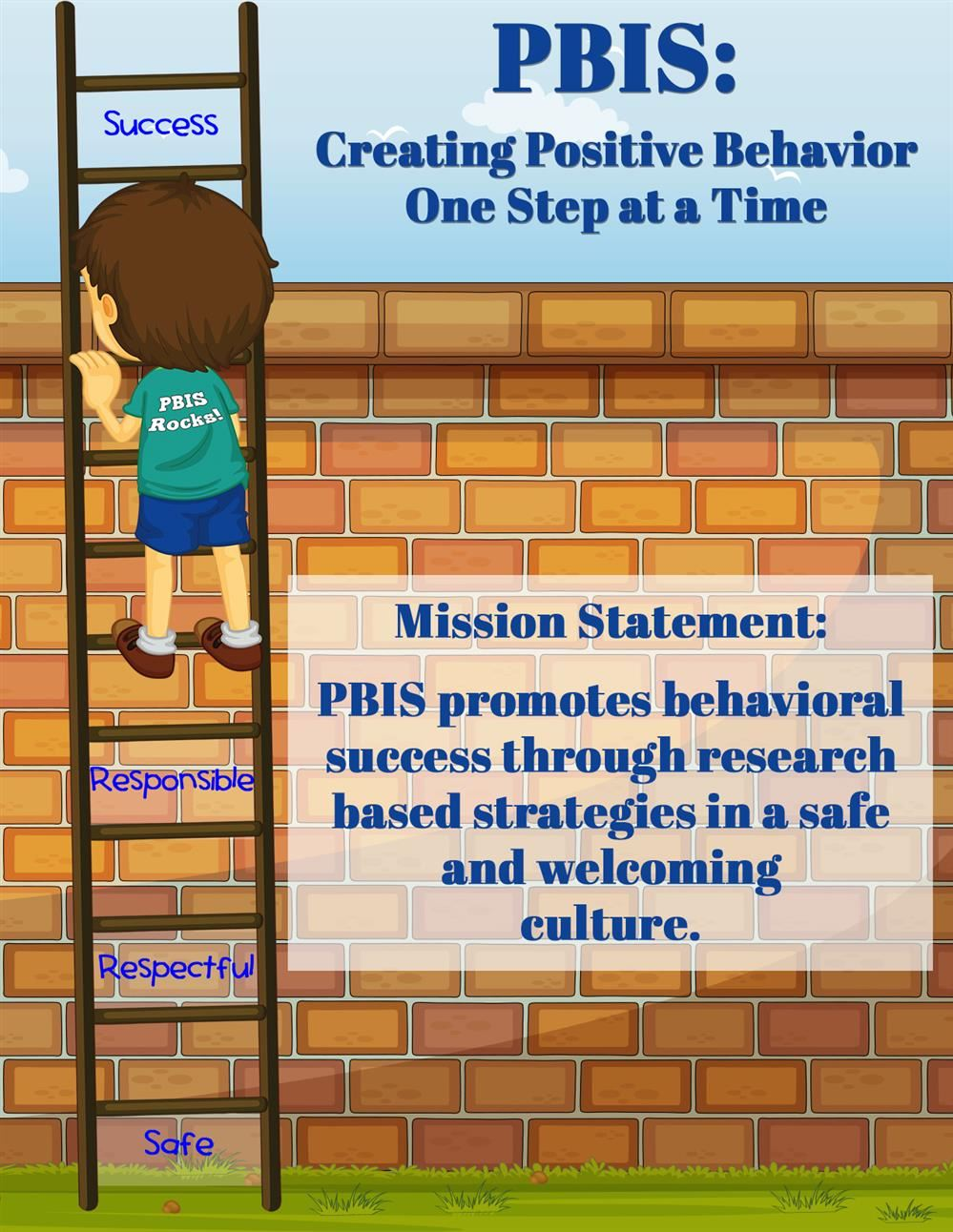 Cartoon picture of boy on a ladder, plus the words: PBIS - Creating Positive Behavior One Step at a Time